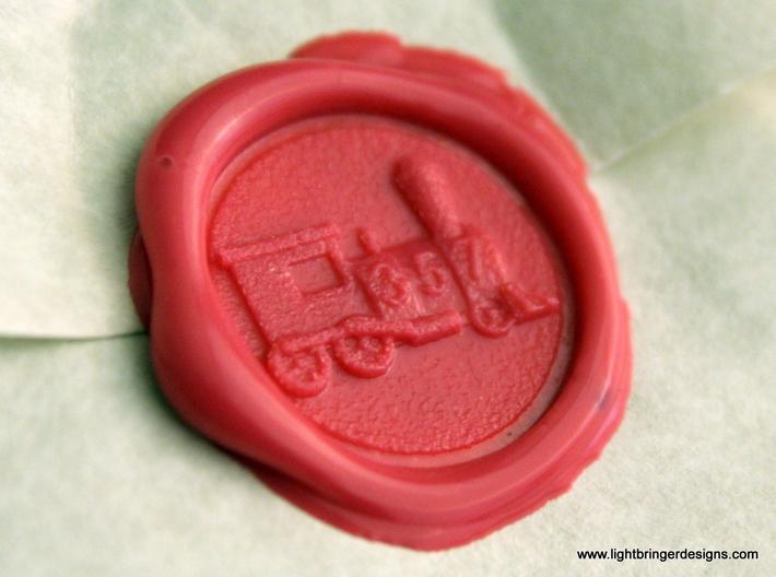 Locomotive Wax Seal 3d printed Locomotive impression in Plumeria Pink sealing wax