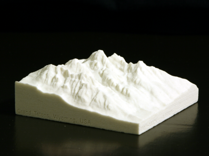 3'' Grand Tetons, Wyoming, USA, Sandstone 3d printed Photo of actual model, looking NW from over Jackson, WY.