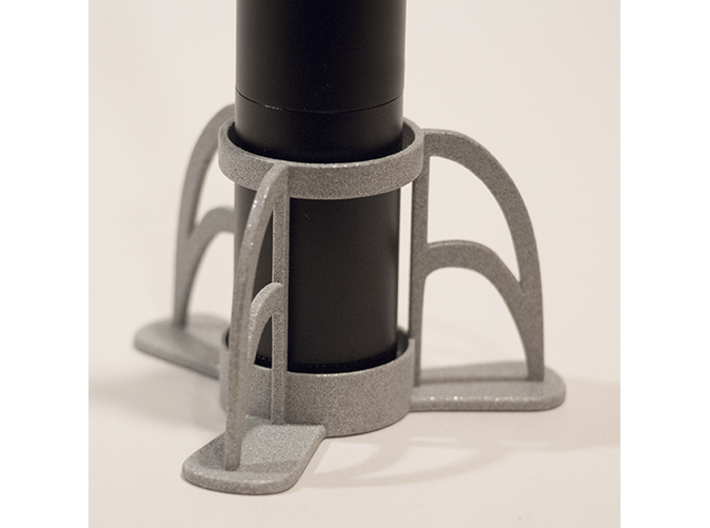 The Rocket e-cig Stand 25mm Type 1 3d printed Polished Alumide (e-cigarette not included).