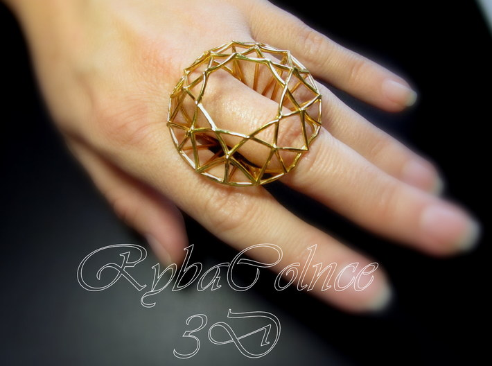 Ring The Diamond / size 9 US (19 mm) 3d printed
