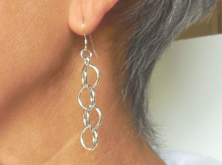 Rain Chain - Precious Metal Earrings  3d printed