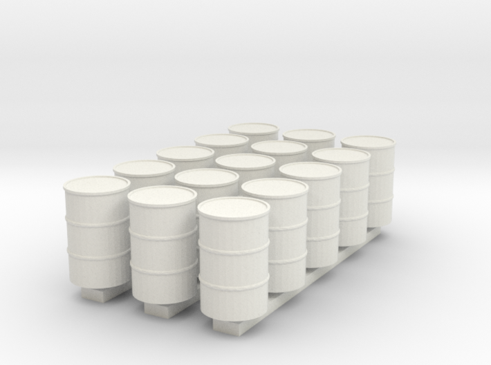 'HO Scale' - (15) 55 Gallon Drums 3d printed