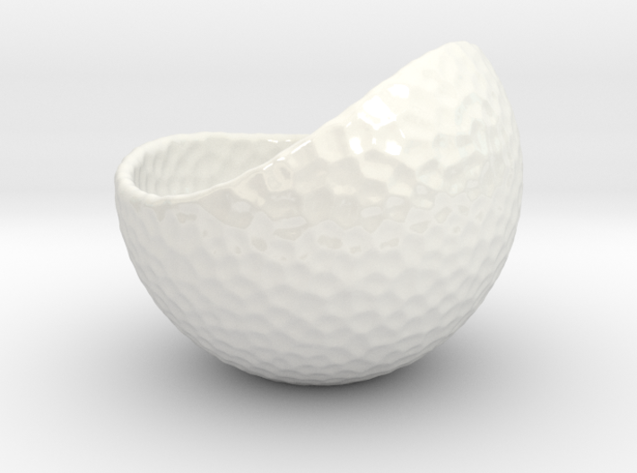 Porcelain Plant-pot in Golfball-Look (small round) 3d printed