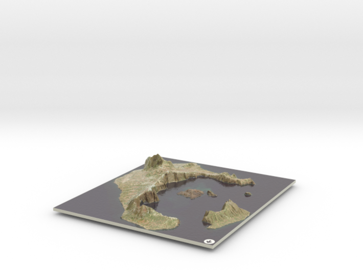 Santorini Map, Greece 3d printed