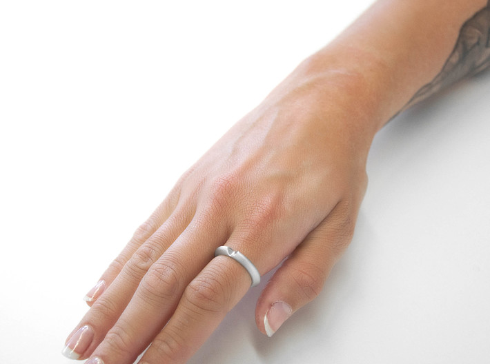 LOVE SIZE M56 17.8 3d printed LOVE ring Premium Silver