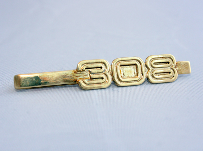 TIE CLIP 308 3d printed Tie clip logo 308 in polished brass