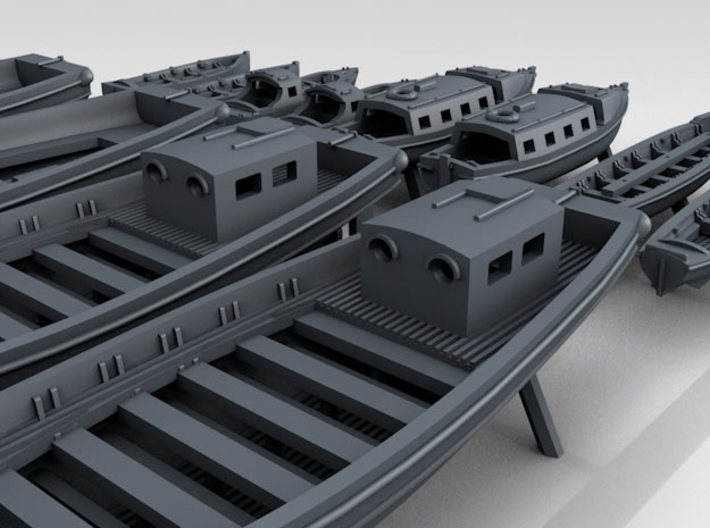 1/400 WW2 RN Boat Set 2 with Mounts 3d printed 3D Render displaying detail