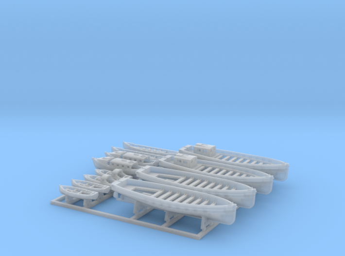 1/450 WW2 RN Boat Set 2 with Mounts 3d printed 1/450 Royal Navy WW2  Boat Set 2 with Mounts