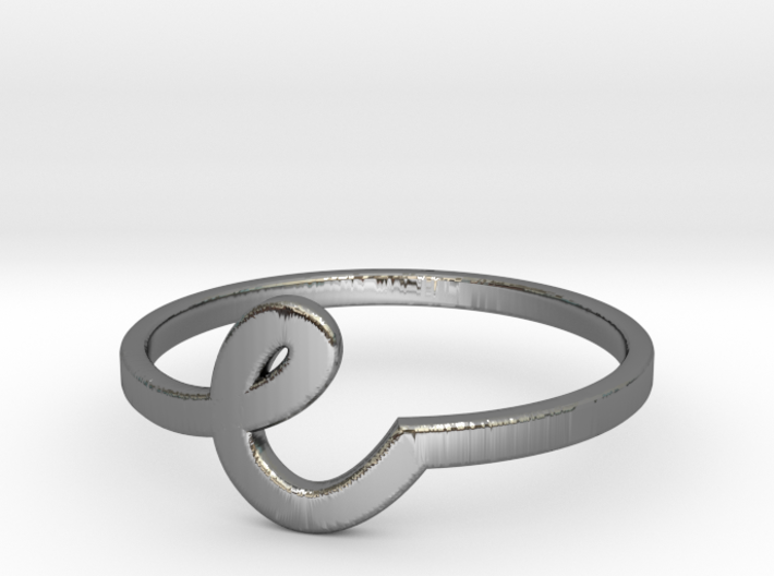 Whimsical Letter Ring (e) 3d printed