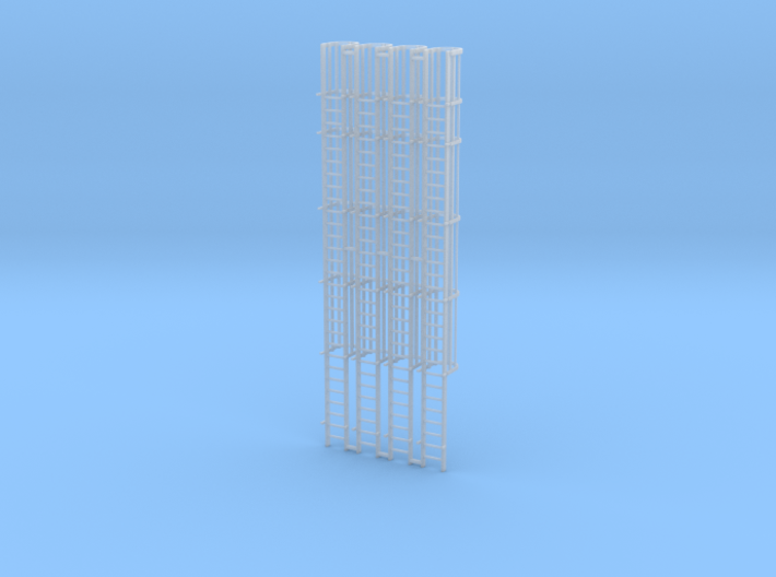 'HO Scale' - (4) 30' Caged Ladder - Cage to Top 3d printed