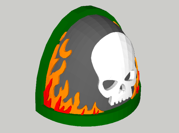 10 Shoulder Pads Skull with Flames 3d printed