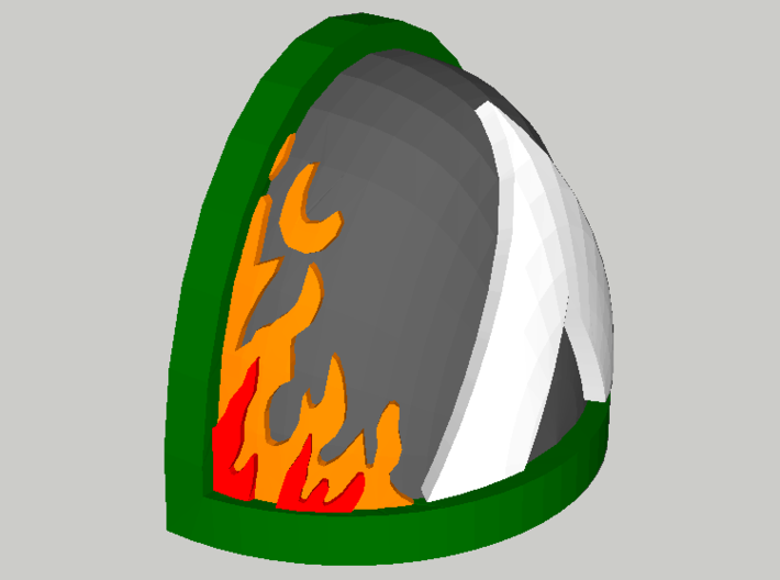 20 Shoulder Pads Triangle with Flames 3d printed