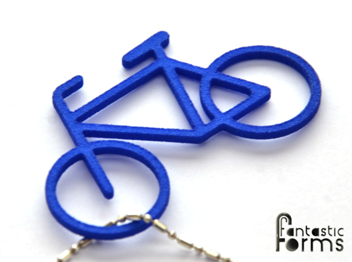 Pendant 'Little Bicycle' 3d printed Bicycle pendant, 3D printed in blue strong& flexible polished
