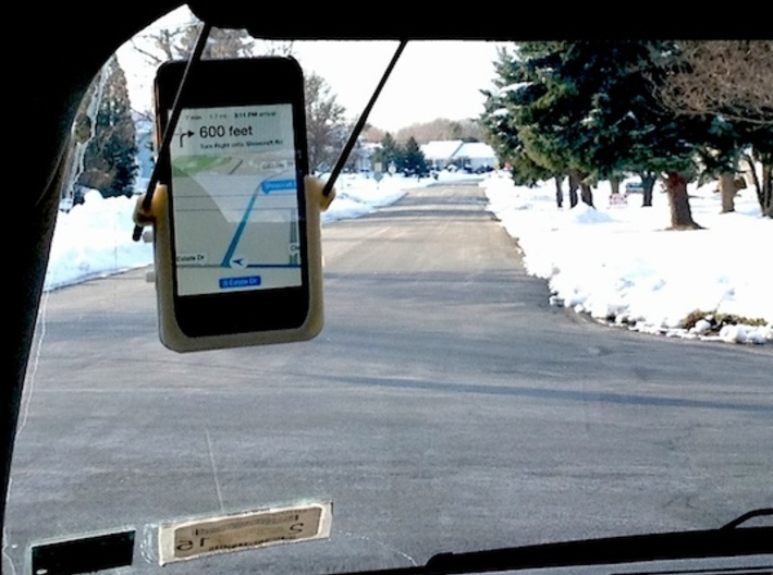 Hands-Free GPS Kit for iPhone 3d printed Hands-Free GPS mounts on Visor