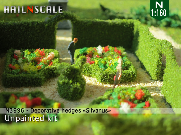 Decorative hedges Silvanus (N 1:160) 3d printed