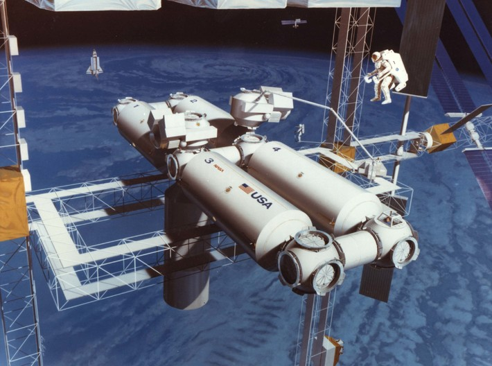 1/1000 Scale Space Station Freedom 3d printed