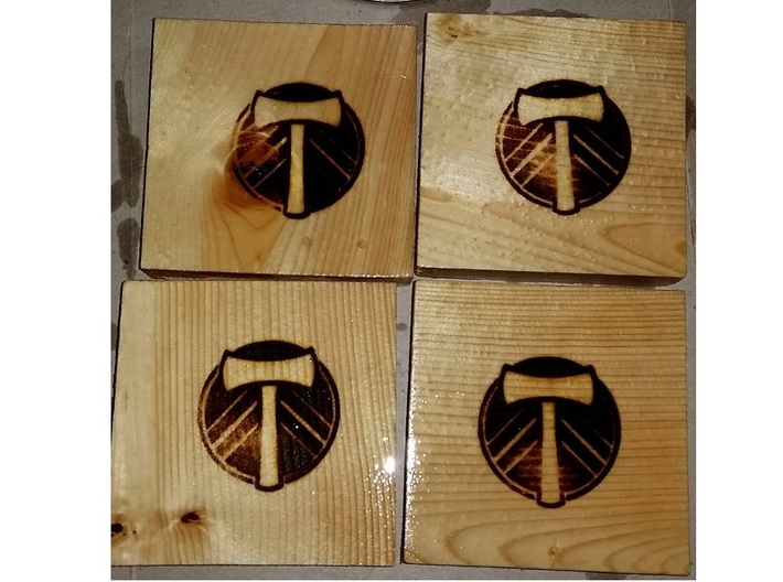 Portland Timbers Branding Iron 3d printed Branded Pine boards