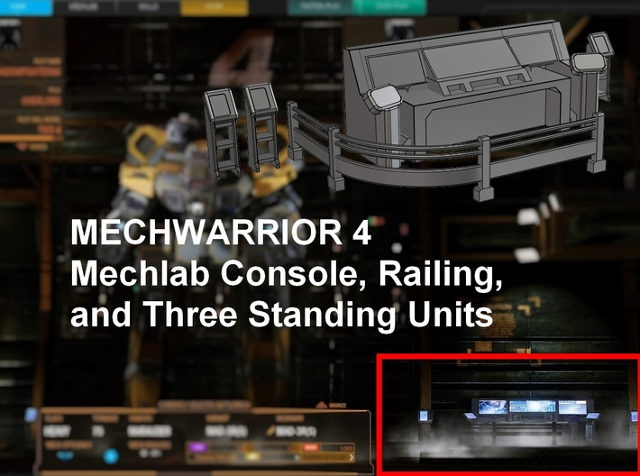 Mechwarrior 4 Mechlab Console and Railing 3d printed
