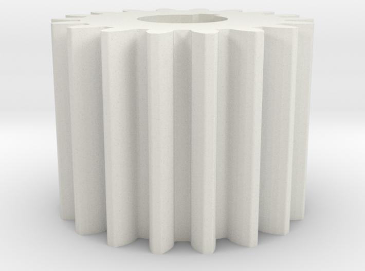 Cylindrical gear Mn=1 Z=18 AP20° Beta0° b=15 HoleØ 3d printed