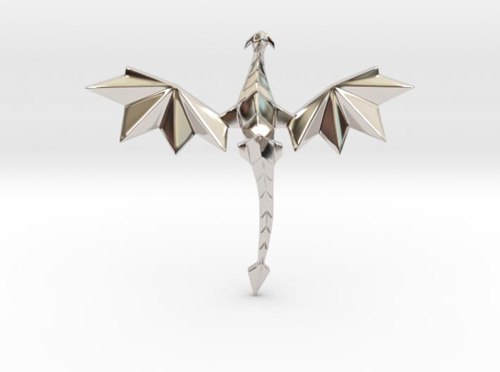 Origami dragon pendant 3d printed