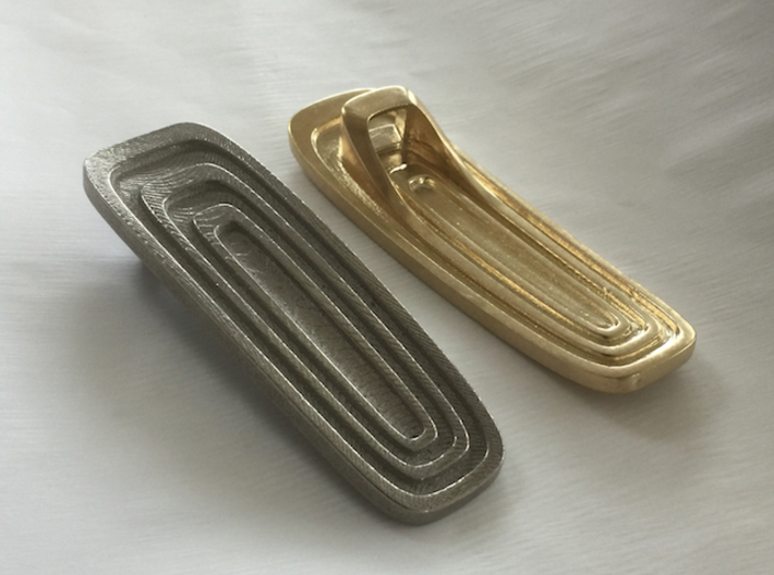 Art Deco-Inspired Bottle Opener 3d printed Top and Bottom Views (Polished Nickel Steel on Left; Raw Brass on Right)