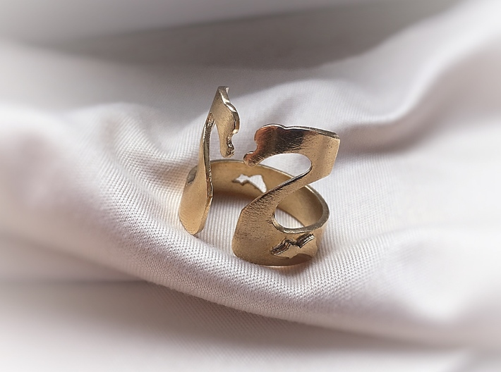 Swans Lovers Ring 3d printed