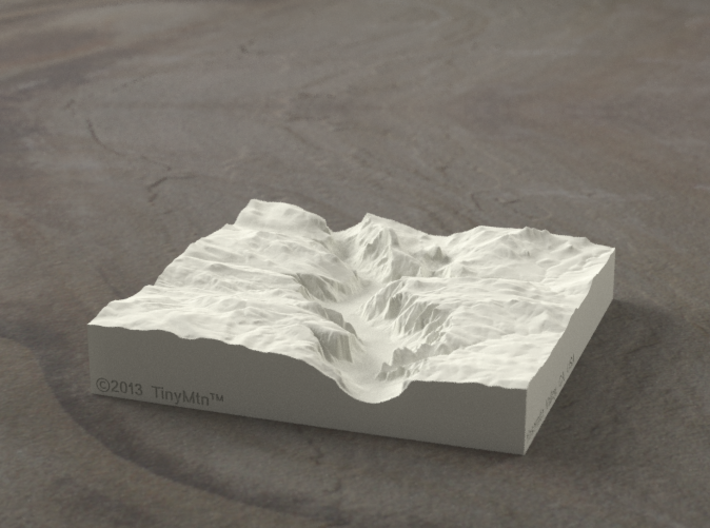 4'' Yosemite Valley, California, USA, Sandstone 3d printed Yosemite valley model rendered in Radiance, viewed from the West, past El Capitan and toward Half Dome.