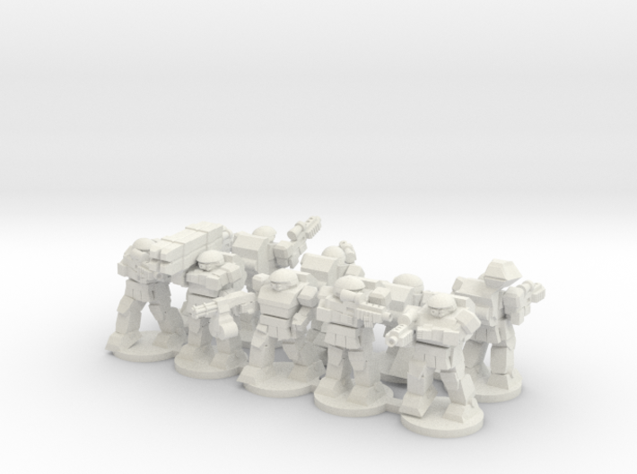 Warplated Squad with 10mm wide bases 3d printed