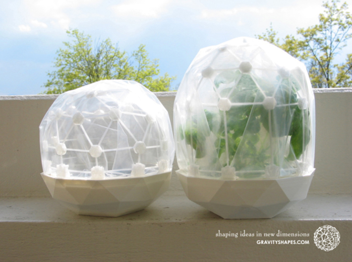 Mini Greenhouse-Dome Set #1 - short (clickable) 3d printed Flexible Mini Greenhouse-Dome with Pot (Sets short and long). Own 3D-prints with white/transparent PLA.