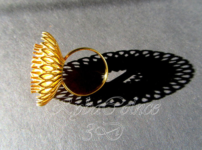 Ring Sun Flowers /size 9 1/2 US (19.4 mm) 3d printed