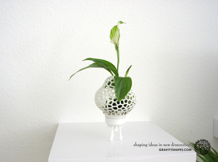 Mini Plant-Space-Rocket with Pot 3d printed Own 3D-Print with white PLA.