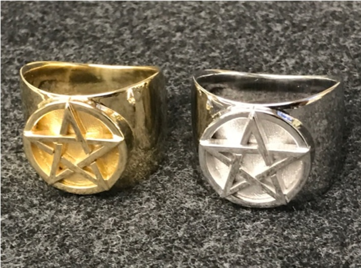 "Pentacle Ring - large (choose size) 3d printed The ring in polished brass next to one in rhodium-plated brass. This is almost a ""before and after"" photo, since Shapeways first prints a polished brass model then applies the rhodium plating."