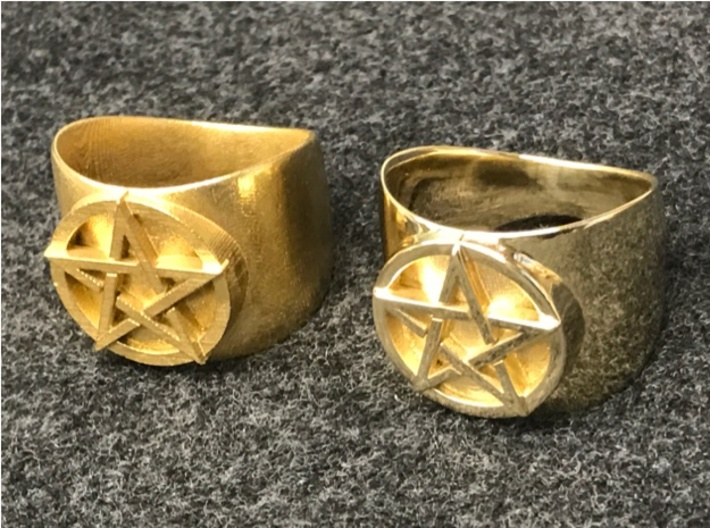 "Pentacle Ring - large (choose size) 3d printed The ring in raw (unpolished) brass on the left, polished brass on the right. This is a ""before and after"" photo, since Shapeways starts with the unpolished print and polishes it by hand."