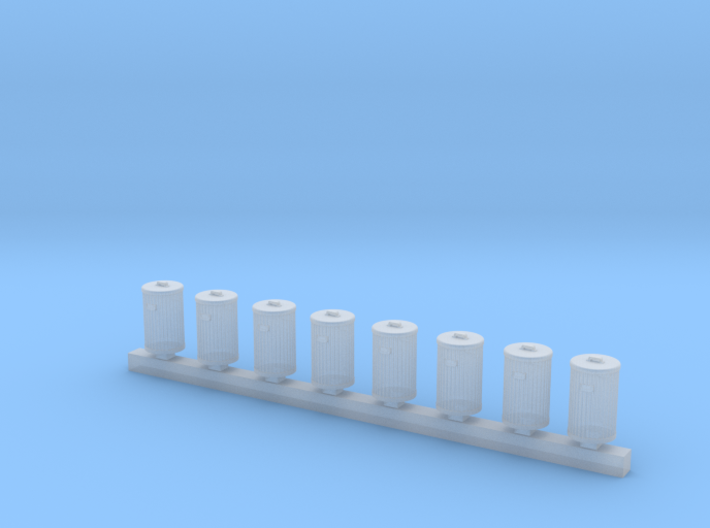 Trash Can Bulk Pack of 8 HO Scale  3d printed