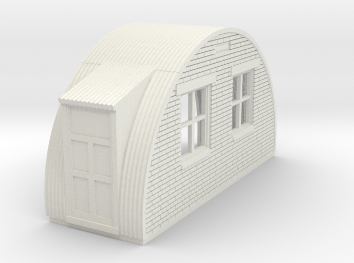 N-87-complete-nissen-hut-back-brick-left-door-16-3 3d printed