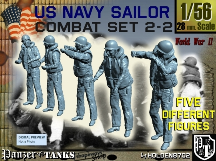 1-56 US Navy Sailors Combat SET 2-2 3d printed