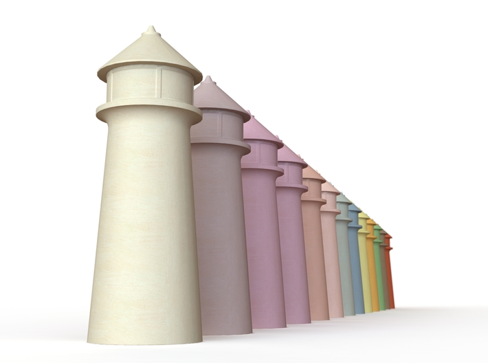 Lighthouse Pastel Dark Red 3d printed