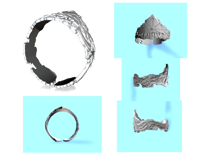 Cloud Ships Lightning, Ring Size 14 3d printed