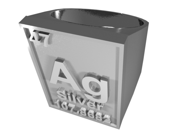 Silver Periodic Table Ring Size 8 Solid Ring Band 3d printed CGI Render of The Silver Periodic Table Ring From The Top