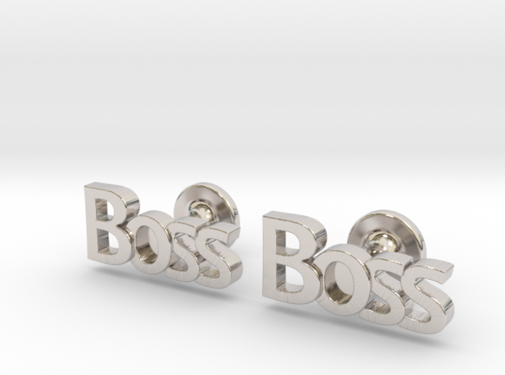 Boss Cufflinks 3d printed Boss cufflinks rhodium plated