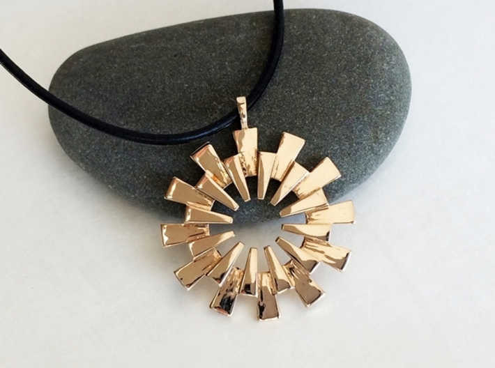 Sun Burst Pendant - Printed Sun in Fine Metals 3d printed Beautiful Sun pendant in polished bronze.