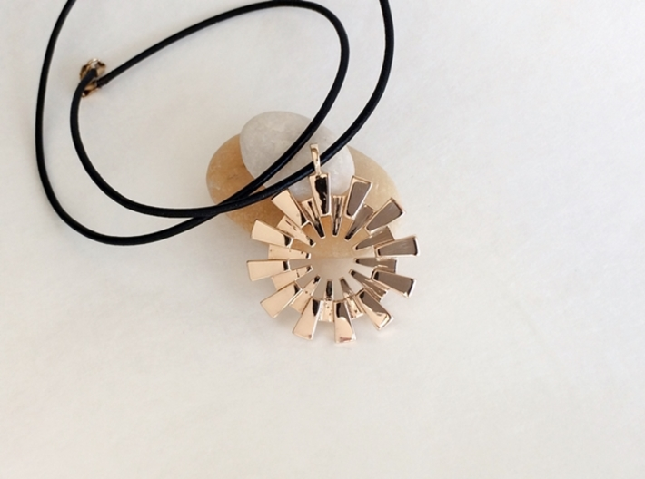 Sun Burst Pendant - Printed Sun in Fine Metals 3d printed Sun pendant in polished bronze.