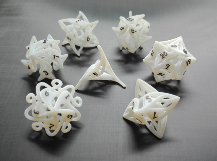 Curlicue 6-Sided Dice 3d printed Whole set with painted numbers made from acrylic plastic.