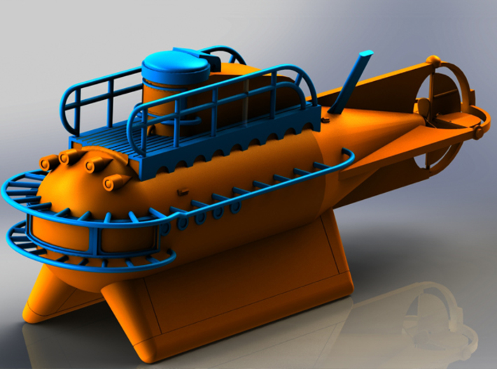 Hydronaut Submarine Model - 150mm Length 3d printed Render With Color