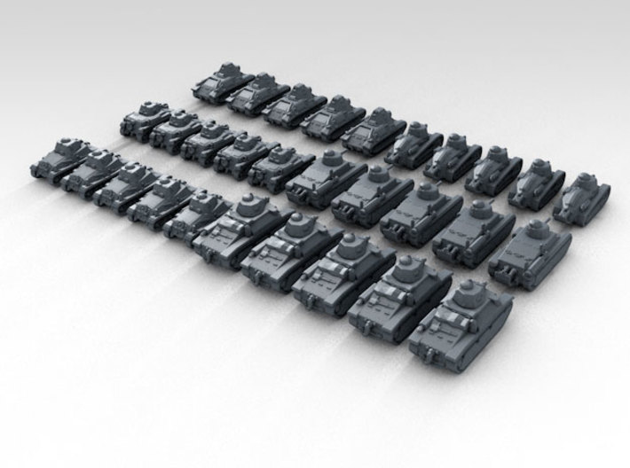 1:700 WW2 French Tank Set Various (30) 3d printed Render showing product detail