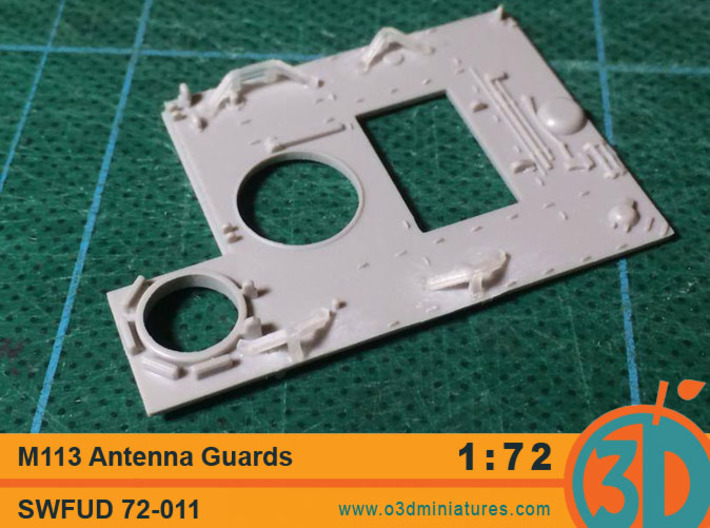 M113 AntennaGuards 1/72 scale SWFUD-011 3d printed FUD test print on Academy M113 deck