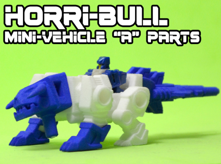 "Horri-Bull Minivehicle, ""A"" Parts 3d printed Assembled kit shown with Terri-Bull minifigure (not included)"
