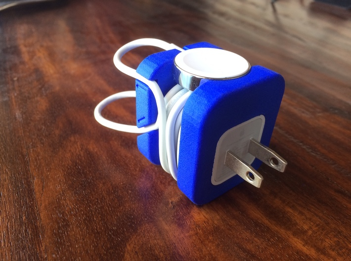 Apple Watch Charging Adapter 3d printed Blue Strong & Flexible with USB Charging Adapter & Apple Watch Charging Cord