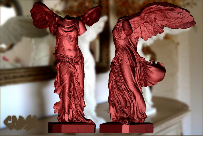 "Winged Victory (25"" tall) 3d printed Winged Victory of Samothrace (computer rendering, shown in red for contrast)"