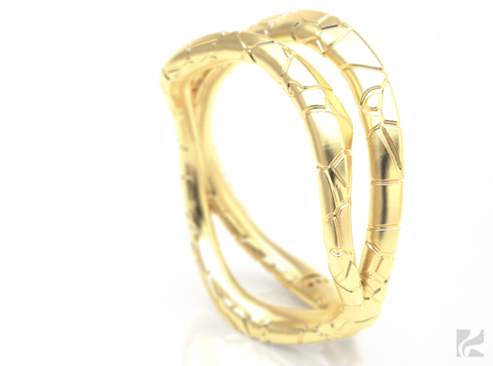 Dual Modern Ring 3d printed Gold